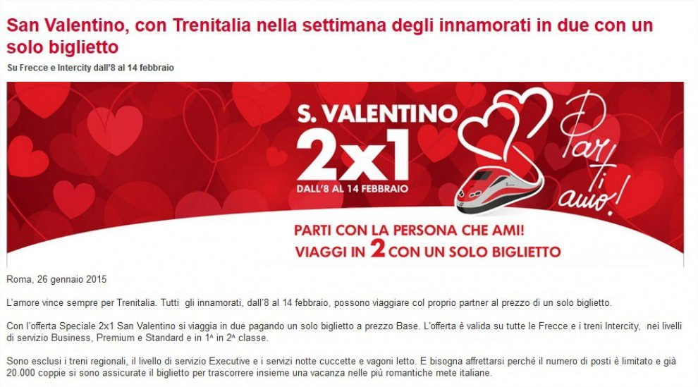 La risposta di Trenitalia a Italo: offerta San Valentino per tutti gli innamorati