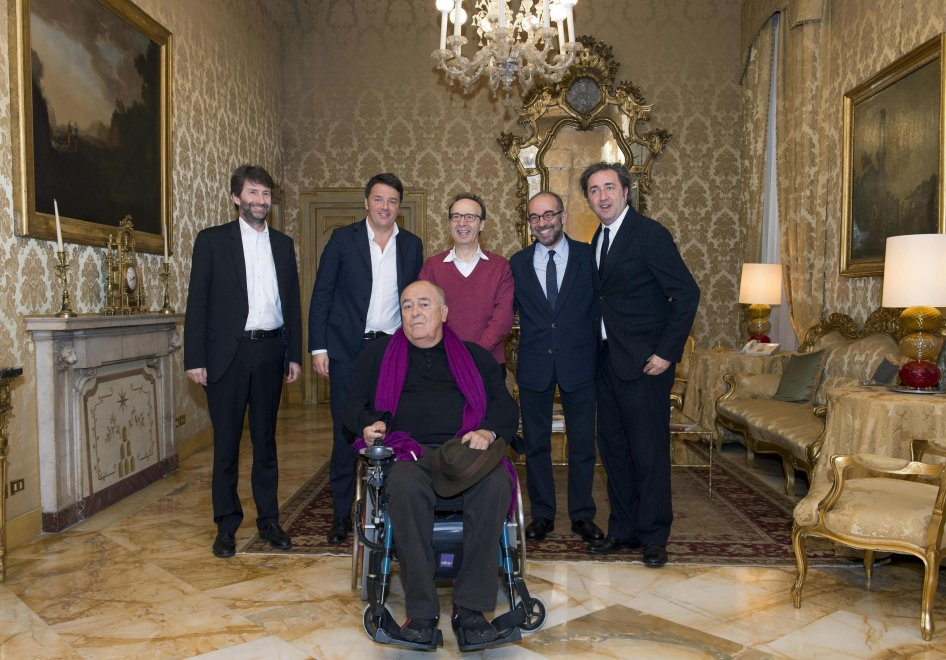Palazzo Chigi, Renzi riceve Benigni, Sorrentino, Tornatore e Bertolucci
