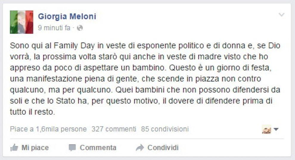 Family day, Meloni su Facebook: ''Aspetto un bambino''