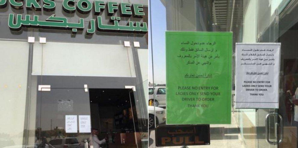 Arabia Saudita, il cartello di Starbucks a Riad: 'Qui le donne non possono entrare'