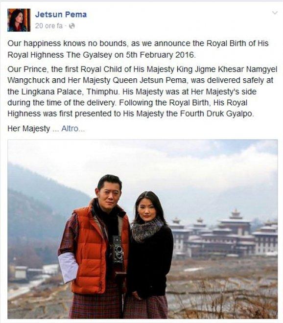 Bhutan, nasce il primo royal baby: l'annuncio della regina su Facebook
