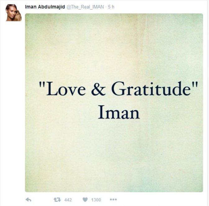 Iman rompe il silenzio e ringrazia i fan di Bowie su Twitter