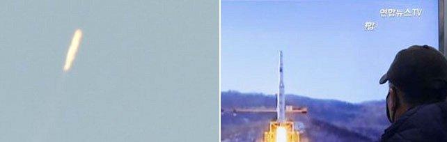 """Corea del Nord lancia un razzo a lungo raggio in direzione dell'area di Okinawa   foto   """"Abbiamo messo in orbita un satellite"""""""