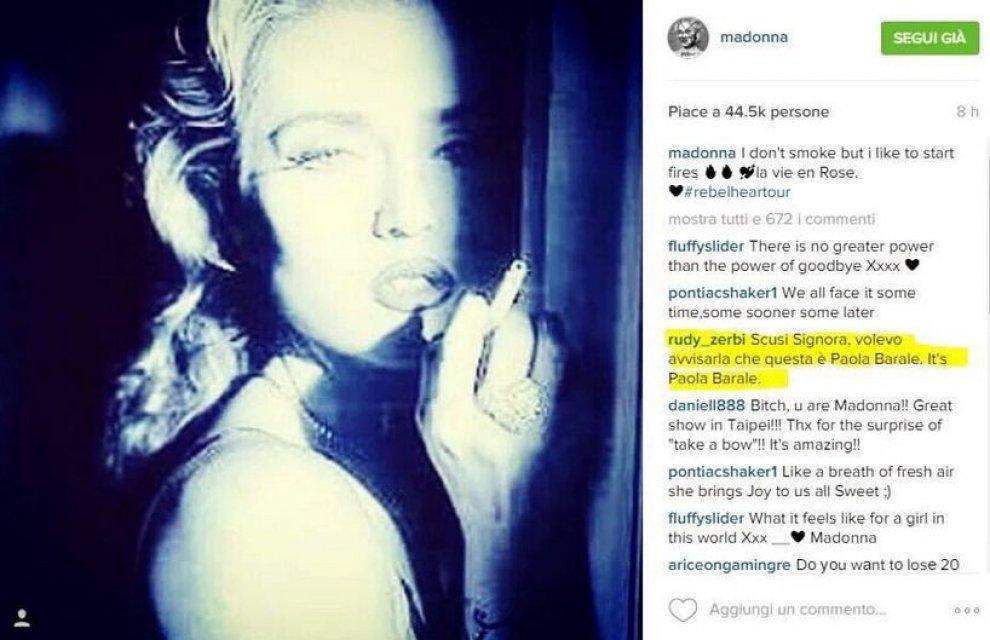Gaffe social per Madonna: pubblica una foto di Paola Barale al posto della sua