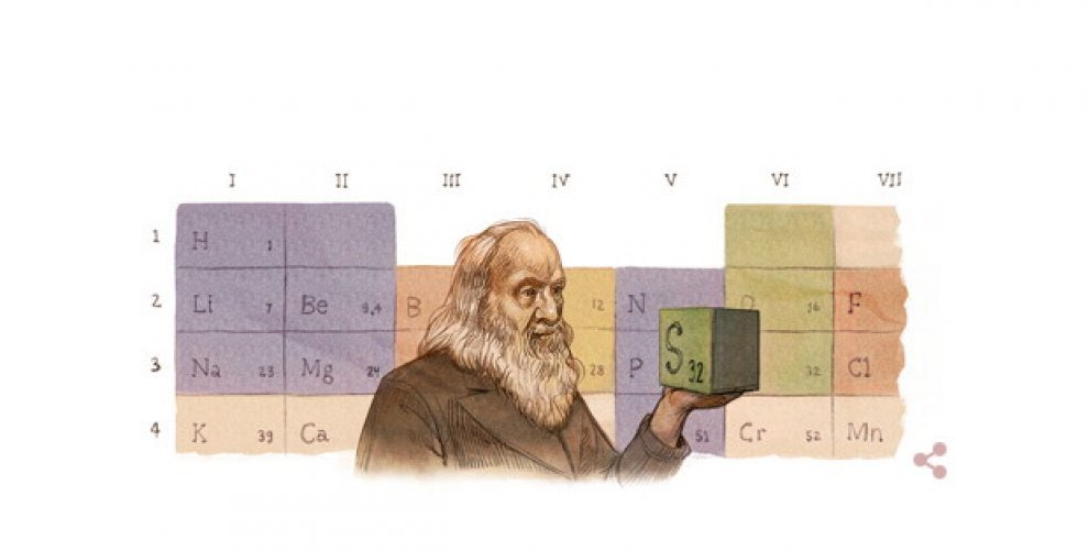 Doodle per Mendeleev, inventore della tavola periodica degli elementi
