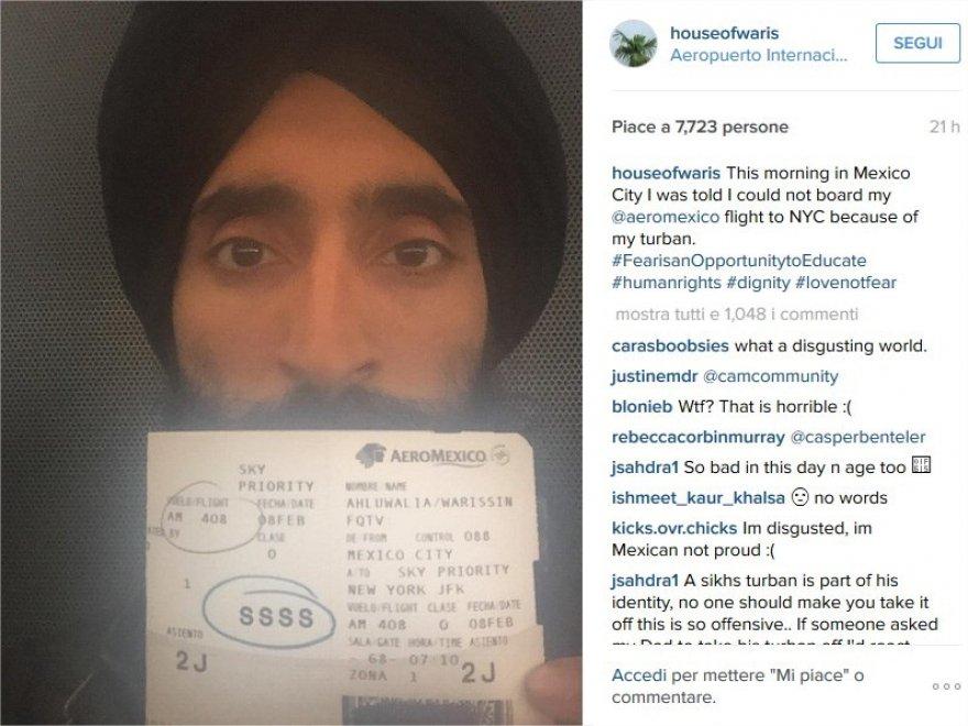 Messico, rifiutato imbarco ad attore sikh a causa del turbante