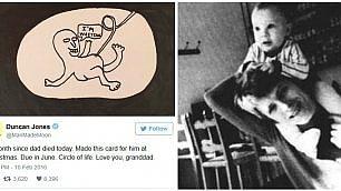 """Il figlio di Bowie papà a giugno Tributo su Twitter: """"Ti amo nonno"""""""
