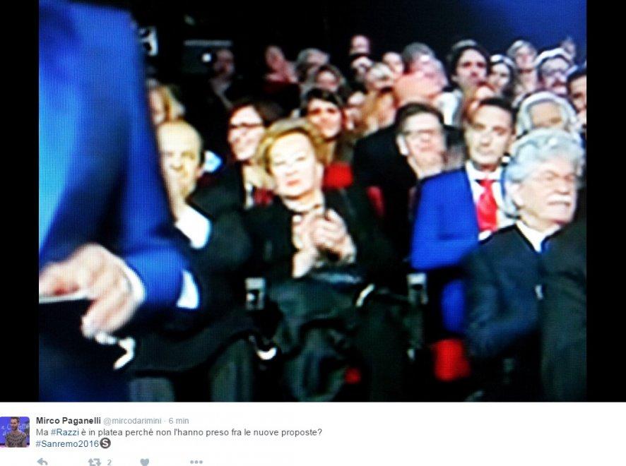 Sanremo 2016, entusiasmo social per Razzi in platea