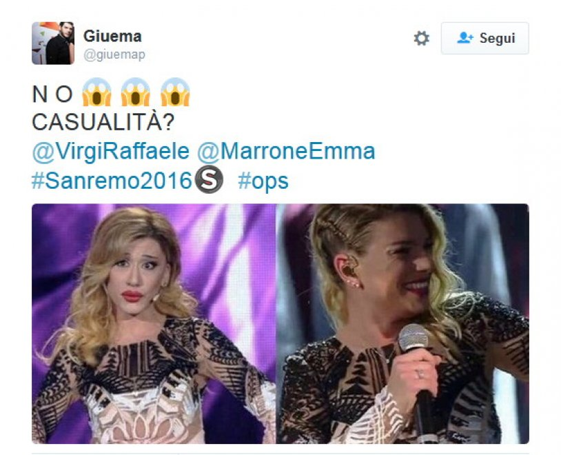 Sanremo 2016, Belen (con l'abito di Emma Marrone) torna all'Ariston grazie a Virginia Raffaele