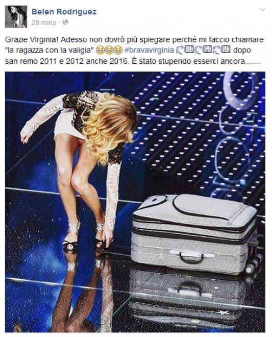 Sanremo 2016, ''Grazie Virginia'': Belen risponde alla Raffaele su Facebook