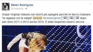 E la Rodriguez gradisce  ringraziamenti via Facebook