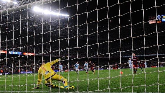 Spagna: Il Barcellona travolge il Celta,  e Messi tira un rigore di 'seconda'
