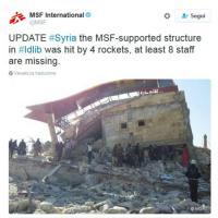 Siria, raid contro ospedale gestito da Medici senza frontiere