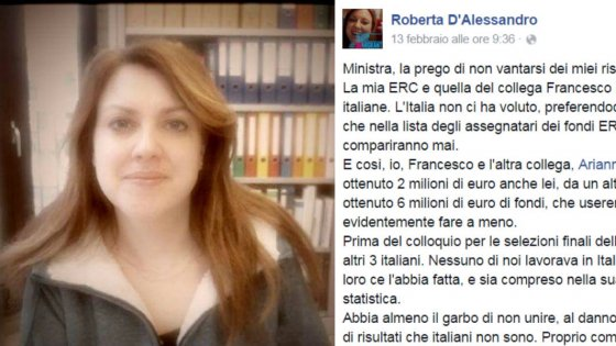 """Roberta D'Alessandro: """"Caro ministro, l'Italia non mi ha voluto, mi dicevano brava ma poi vincevano altri"""""""
