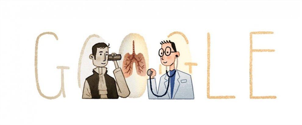 René Laennec, il doodle ricorda l'inventore dello stetoscopio