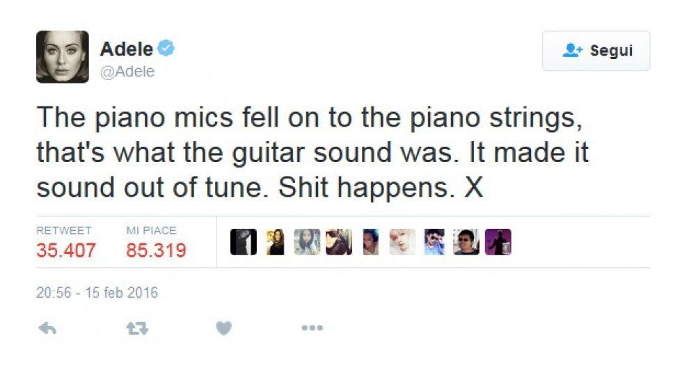 """Grammy, Adele si giustifica: """"Colpa di un microfono"""" e si consola con l'hamburger"""