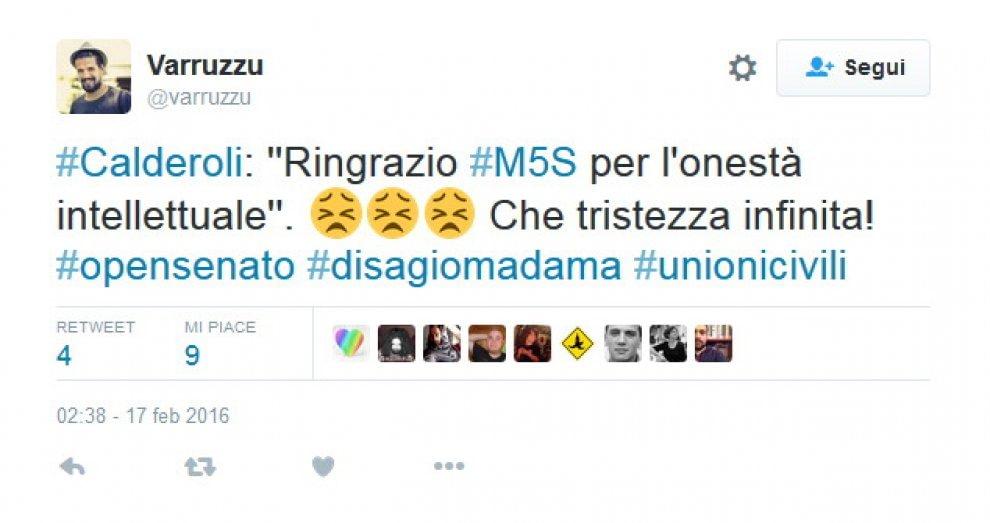 Unioni Civili, Twitter in rivolta: presi di mira Calderoli e il M5s
