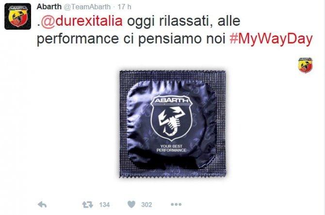 Dai preservativi alla pasta: Abarth scatenata su Twitter per il #MyWayDay