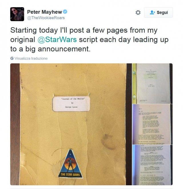 Star Wars, Chewbacca pubblica su Twitter il copione originale del  IV episodio