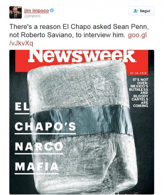 Newsweek: El Chapo e la narcomafia, Roberto Saviano in copertina
