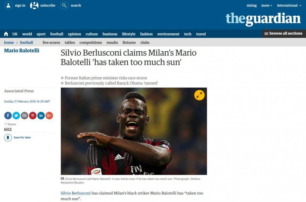 ''Balotelli ha preso troppo sole'', la frase di Berlusconi non sfugge alla stampa straniera