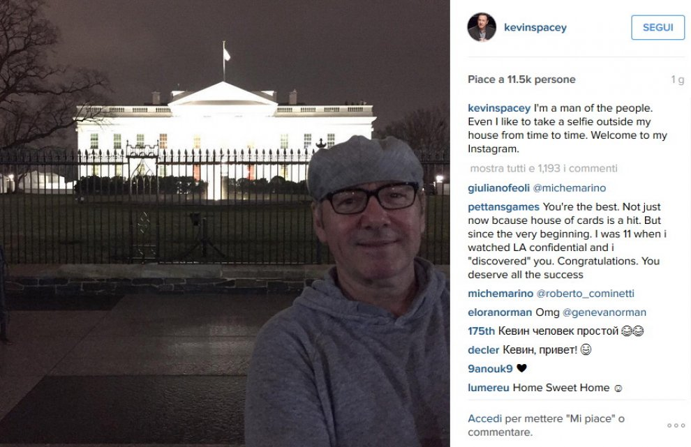 Kevin Spacey su Instagram: il primo scatto è davanti alla Casa Bianca
