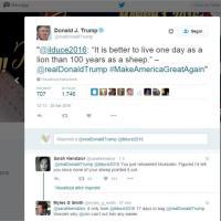 Donald Trump twitta Mussolini: