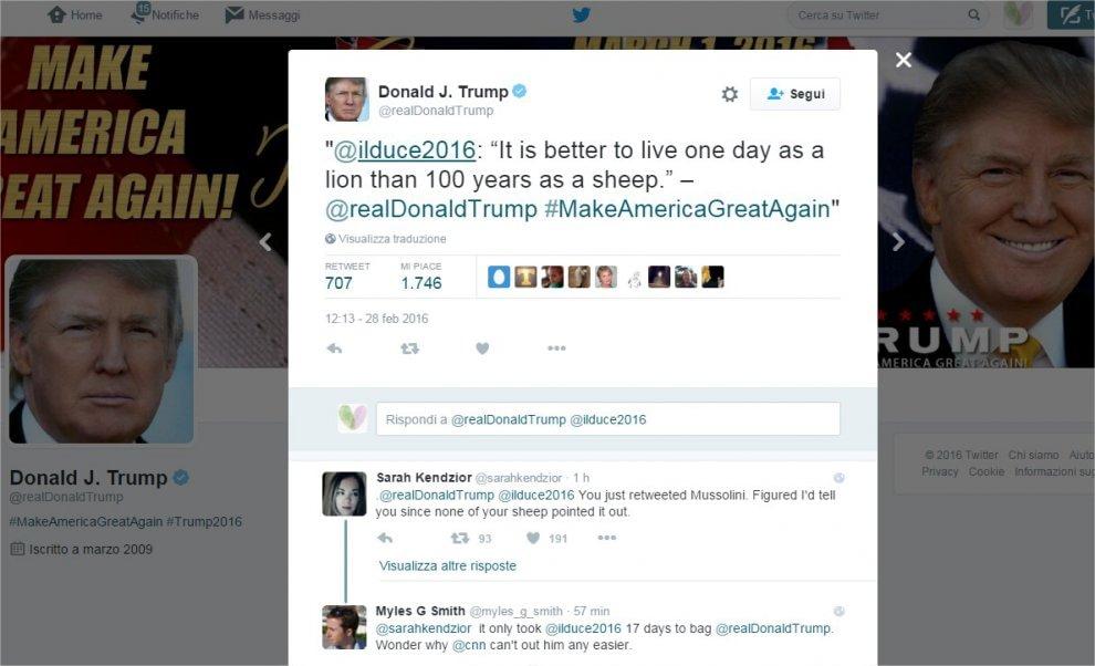 """Donald Trump twitta Mussolini: """"Meglio un giorno da leone, che cento anni da pecora"""""""