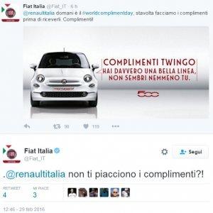 """Fiat stuzzica su Twitter per la Twingo """"copiata"""". Renault cita il Viagra"""