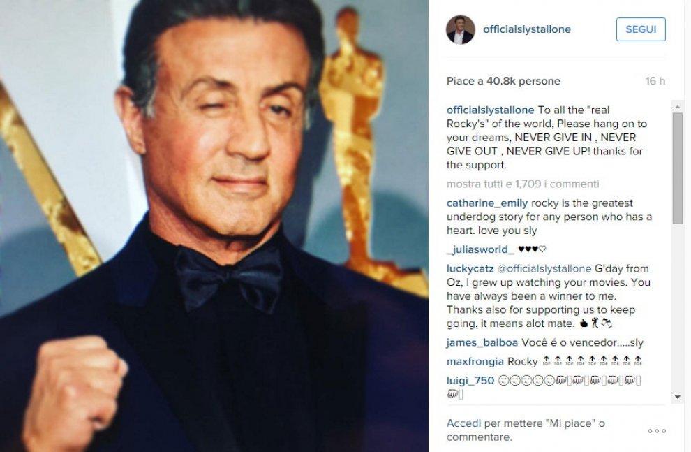 """Stallone dopo il mancato Oscar: """"Non arrendetevi mai"""""""