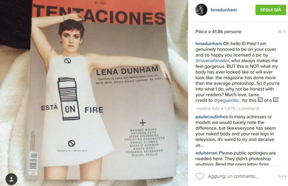 """Lena Dunham contro El País: """"Non ritoccate le mie foto, il mio corpo non è così"""""""