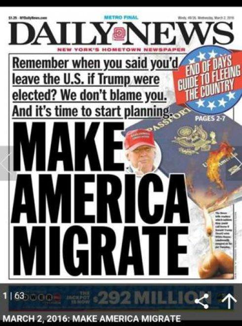 """Primarie Usa 2016, Trump eletto? Daily News: """"E' il momento di emigrare dagli Usa"""""""