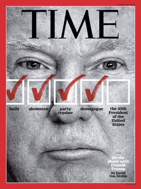 Time, copertina contro Trump: da bullo e demagogo a presidente