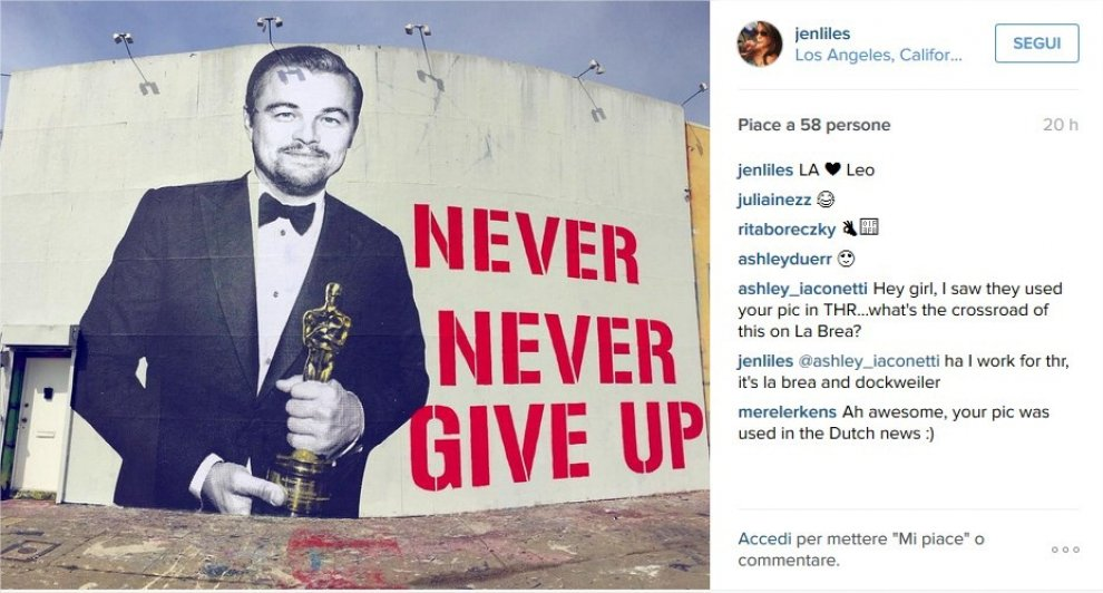 """Never give up"": l'Oscar di DiCaprio si fa street art ad Hollywood"