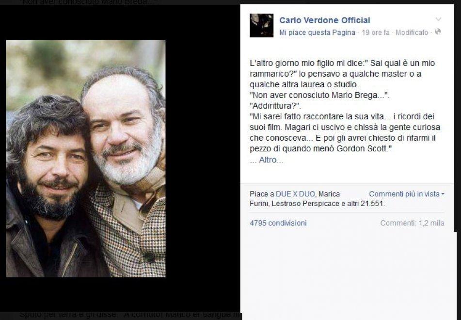 Verdone ricorda Mario Brega: l'omaggio è un cult su Facebook