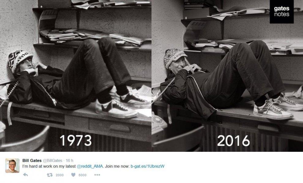Bill Gates torna indietro nel tempo: stesso scatto 43 anni dopo