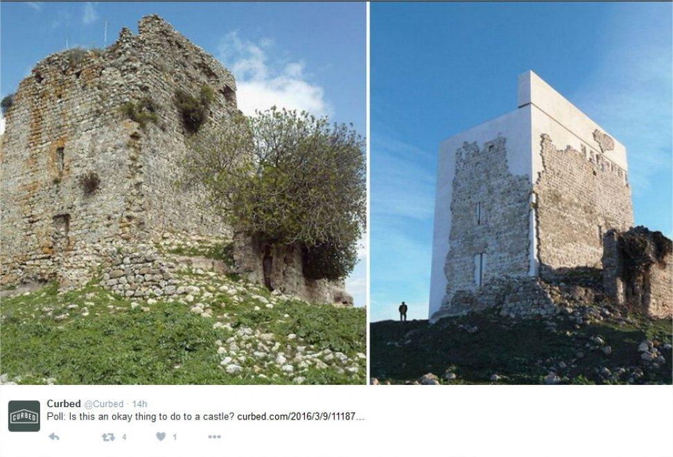 Spagna, l'assurdo restauro del Castillo di Matrera: cemento sulla torre del IX secolo