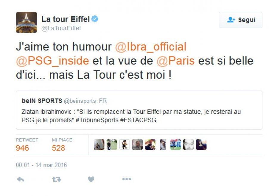 """Psg, la Tour Eiffel vs Ibra: """"Tu al mio posto? Divertente, ma la Torre sono io"""""""