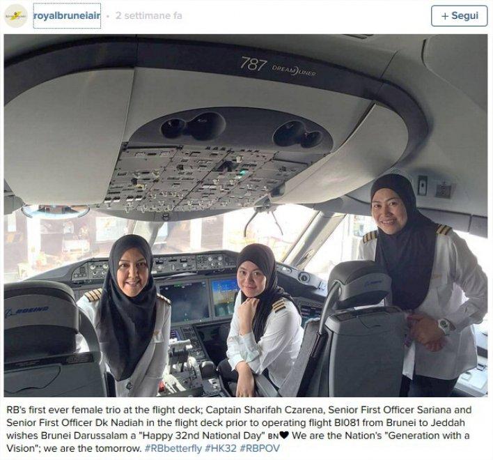 Royal Brunei Airlines, donne in cabina: ecco il primo equipaggio femminile