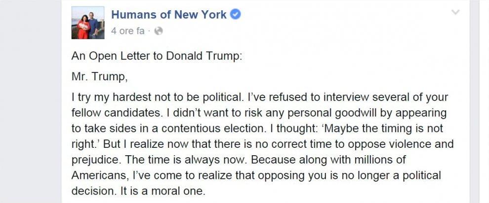 Una lettera aperta a Trump è tra i post più condivisi di sempre su Facebook