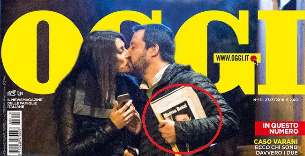 Lui, lei e l'altro: Salvini bacia la Isoardi ma sotto braccio ha il libro di Renzi