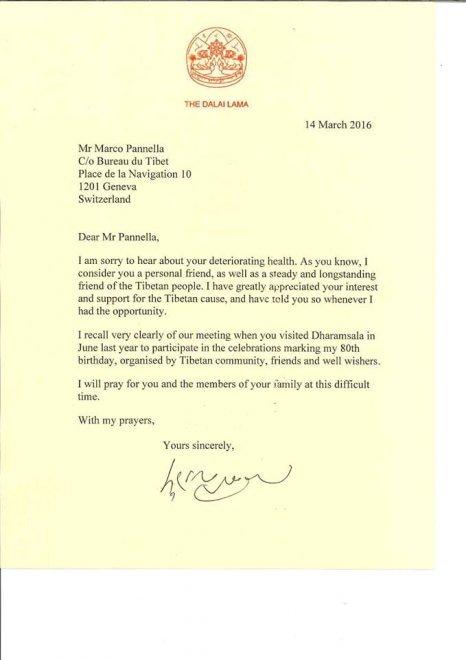 """Il Dalai Lama scrive a Pannella: """"Prego per te e la tua famiglia"""""""