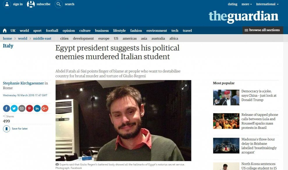 Intervista esclusiva di Repubblica ad Al Sisi, la notizia sui siti stranieri
