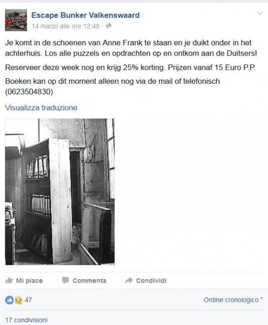 """Vergogna in Olanda, l'Olocausto diventa un gioco: """"Entra nei panni di Anna Frank"""""""