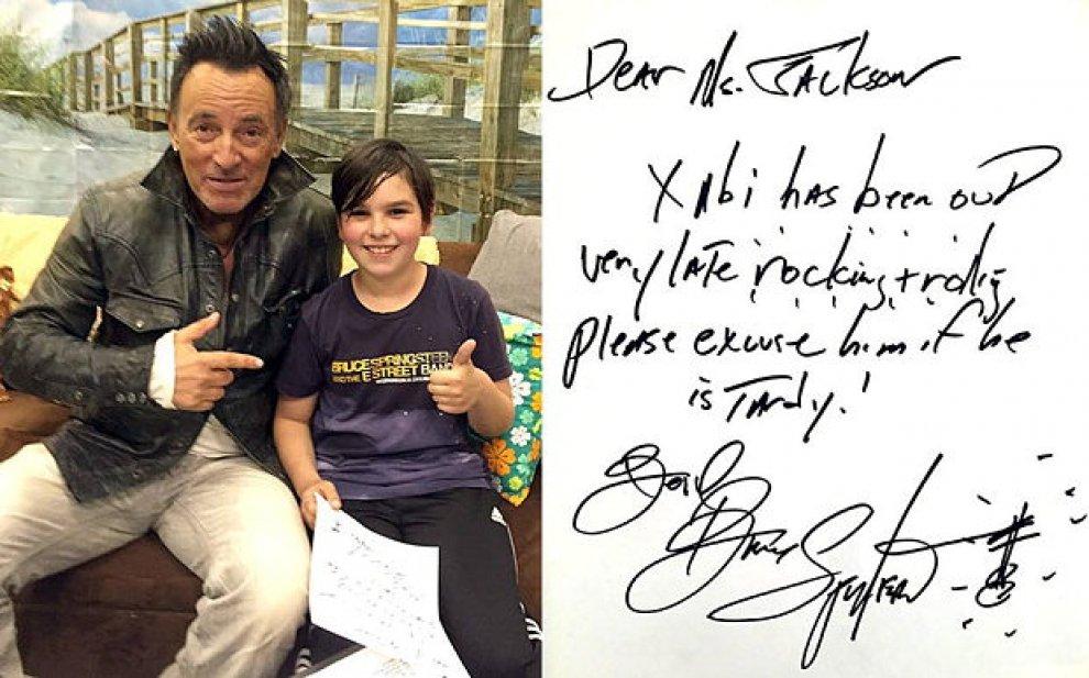 Springsteen scrive la giustificazione al piccolo fan: ''Cara maestra, lo perdoni  per il ritardo. Era a un mio concerto''