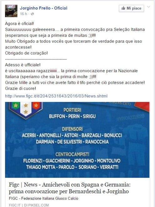 Jorginho, prima convocazione in Nazionale. La gioia incontenibile su Facebook