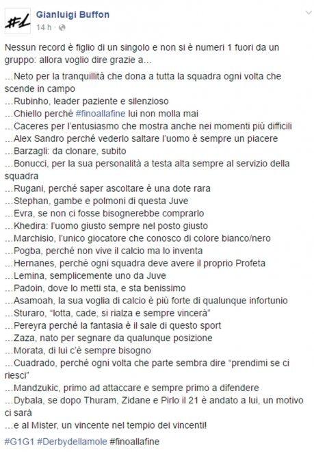 """Buffon ringrazia i compagni uno a uno su Fb: """"Nessun record è figlio di un singolo"""""""