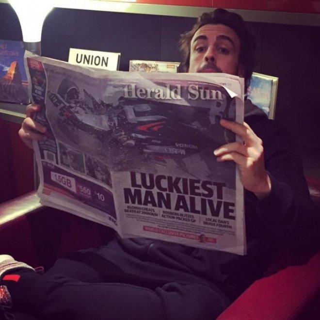 Alonso su Instagram dopo l'incidente: ''Sono l'uomo più fortunato del mondo''
