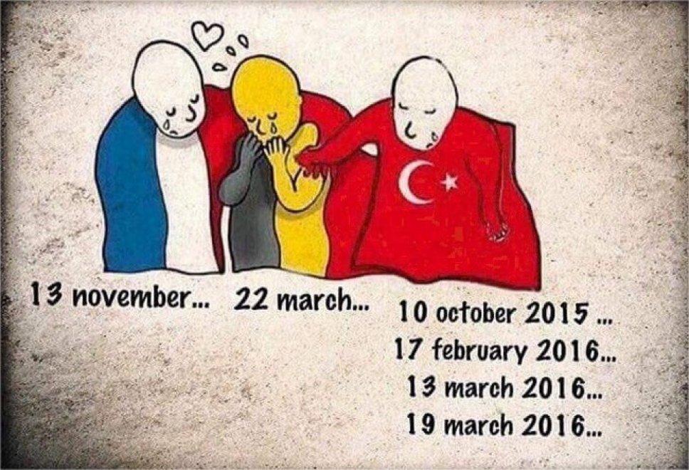 Gli attentati uniscono Francia e Belgio. La Turchia protesta: la vignetta della discordia