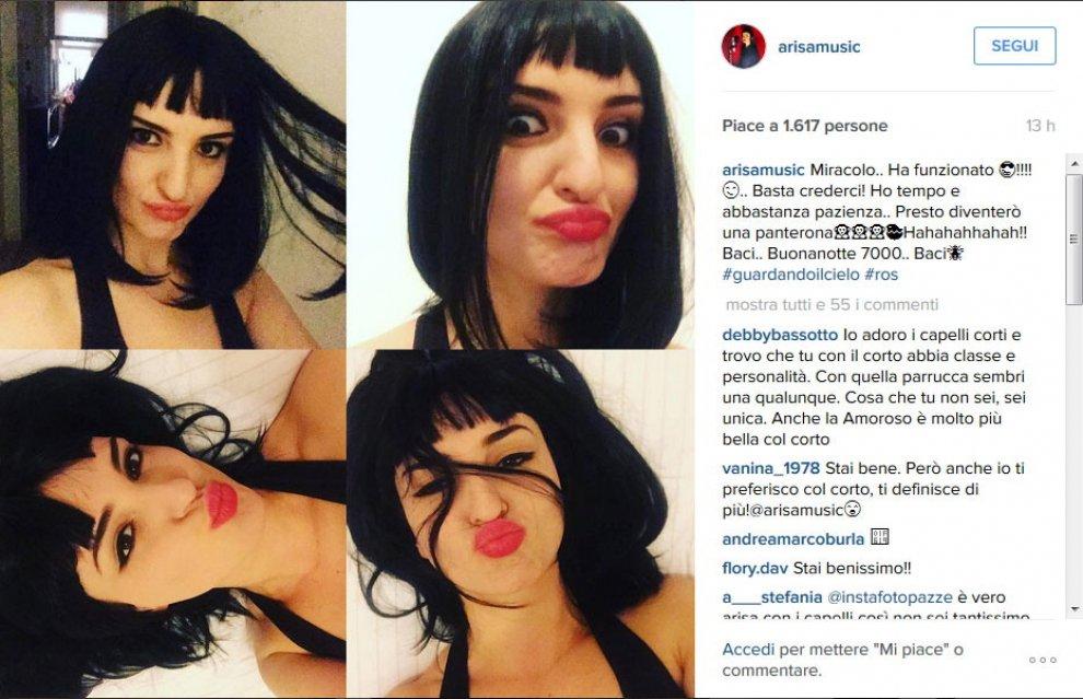 """Arisa, ironia con parrucca su Instagram: """"Presto diventerò una panterona"""""""